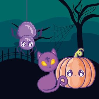 Lindo gato con calabaza en escena de halloween