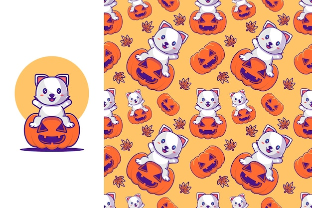 Lindo gato con calabaza feliz halloween con patrones sin fisuras