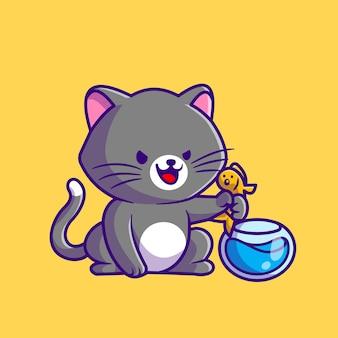 Lindo gato captura de peces en la ilustración de icono de vector de dibujos animados de acuario. concepto de icono de naturaleza animal aislado vector premium. estilo de dibujos animados plana