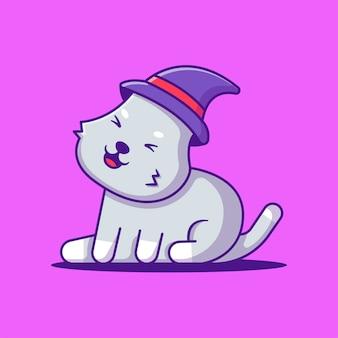 Lindo gato de cara feliz con ilustración de dibujos animados de sombrero de bruja. concepto de estilo de dibujos animados planos de halloween