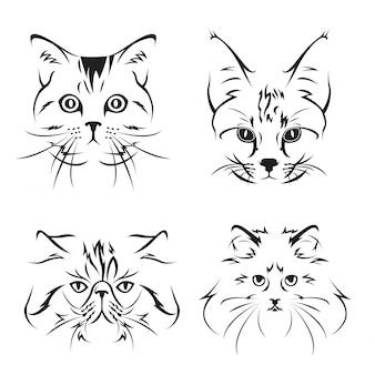 Lindo gato cara ilustración conjunto