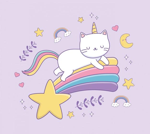 Lindo gato con carácter kawaii de cola de arco iris
