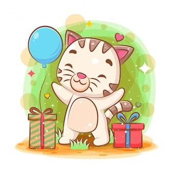 Lindo gato celebración feliz cumpleaños