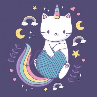 Lindo gato con cola de arco iris y bola de lana kawaii personaje
