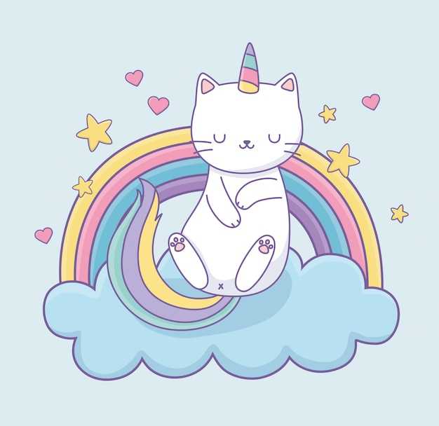 Lindo gato con cola de arco iris en las nubes kawaii personaje