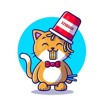 Lindo gato comiendo fideos ramen con dibujos animados de palillos