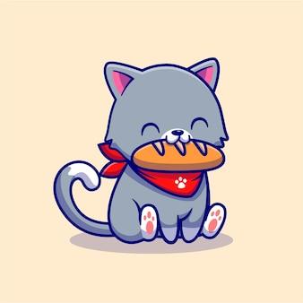 Lindo gato comiendo personaje de dibujos animados de pan. alimentos para animales aislados.