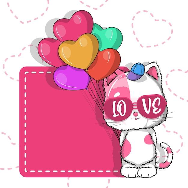 Lindo gato con corazones de globos para san valentín. tarjeta de invitación