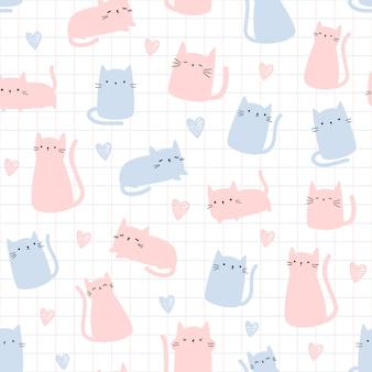 Lindo gato con cuadrícula dibujos animados doodle de patrones sin fisuras
