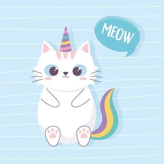 Lindo gato con cuerno de unicornio y cola personaje animal divertido de dibujos animados