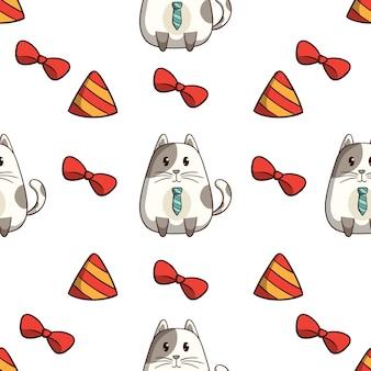 Lindo gato con decoración de cumpleaños en patrones sin fisuras con estilo doodle de colores sobre fondo blanco.
