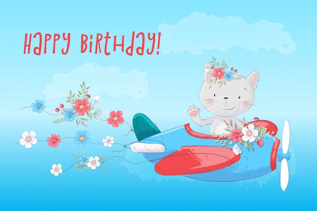 Lindo gato de dibujos animados en el avión con tarjeta de flores