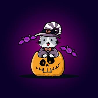 Lindo gato con dibujos animados de calabaza de halloween