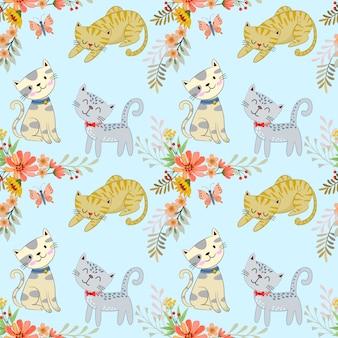 Lindo gato de dibujos animados y flores de patrones sin fisuras.