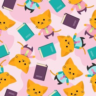 Lindo gato de dibujos animados de patrones sin fisuras con uniforme y libro