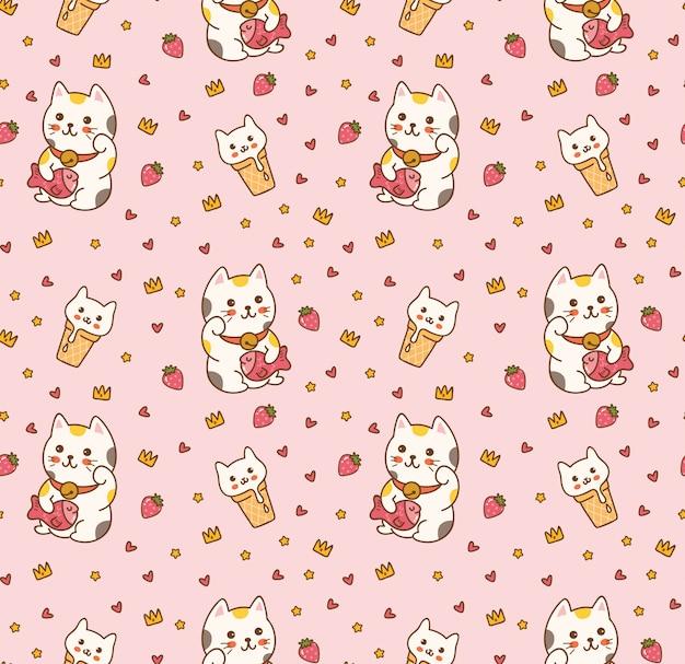 Lindo gato de dibujos animados de patrones sin fisuras