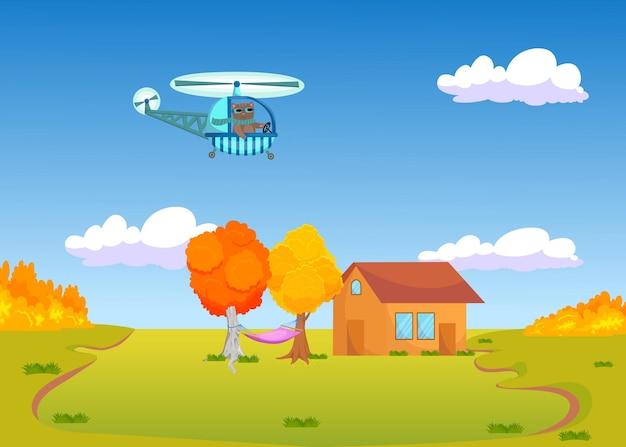 Lindo gato de dibujos animados volando en helicóptero sobre el paisaje otoñal.