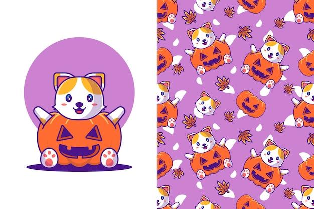 Lindo gato con disfraz de calabaza feliz halloween con patrones sin fisuras