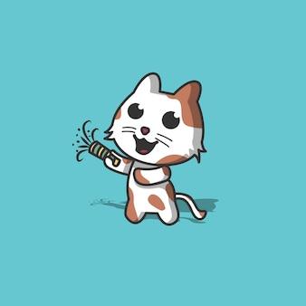 Lindo gato disparando ilustración de fuegos artificiales