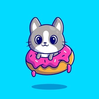Lindo gato con donut. estilo de dibujos animados plana