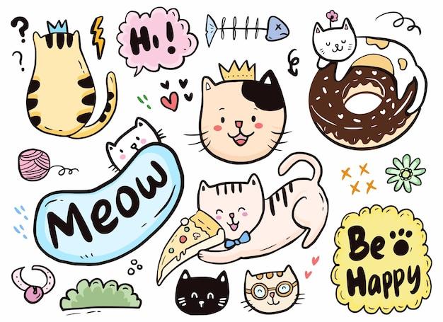 Lindo gato doodle jugando con pizza y colección de donas