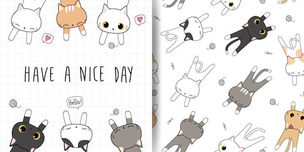 Lindo gato durmiendo dibujos animados doodle de patrones sin fisuras y cubierta de la tarjeta