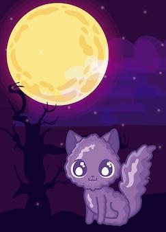 Lindo gato en escena de halloween