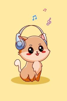 Lindo gato escuchando música con ilustración de dibujos animados de icono de auriculares