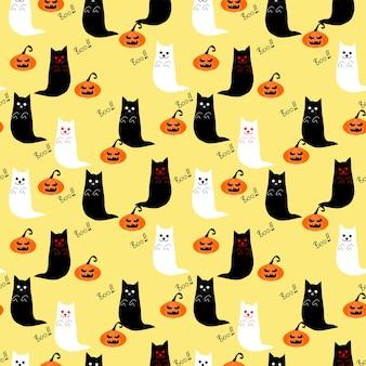 Lindo gato fantasma y calabazas de halloween sin fisuras.