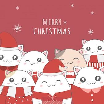 Lindo gato feliz navidad