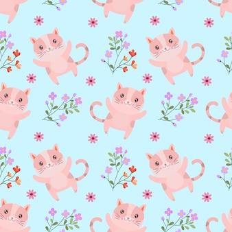 Lindo gato con flores de patrones sin fisuras