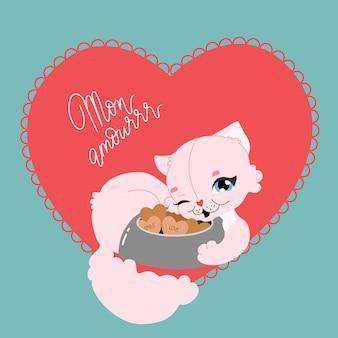 Lindo gato en forma de corazón. tarjeta de felicitación romántica dibujada a mano. señora del gato, galletas de amor y texto de cita divertida romántica. dibujos animados gatito rosa tendido y sonriente. ilustración moderna para tarjeta, cartel.