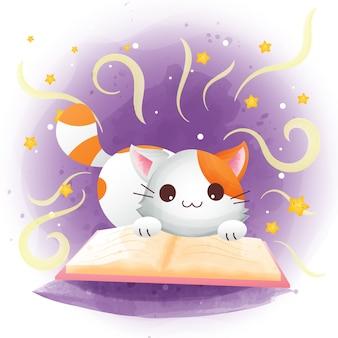 Lindo gato geek leyendo una ilustración de dibujos animados de libros
