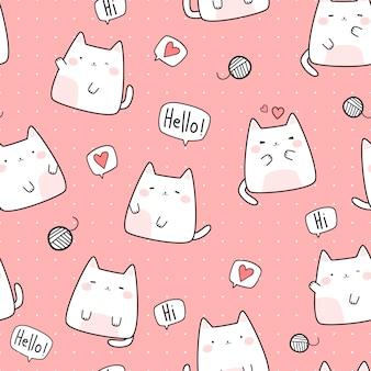 Lindo gato gordito gatito dibujos animados doodle de patrones sin fisuras