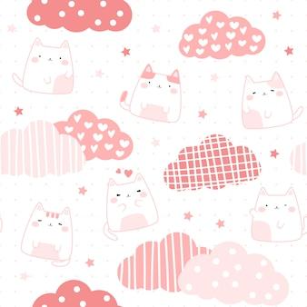 Lindo gato gordito rosa en dibujos animados de cielo doodle de patrones sin fisuras