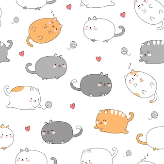 Lindo gato gordo gatito dibujos animados doodle de patrones sin fisuras