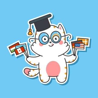 Lindo gato en gorra graduada con banderas vector personaje de dibujos animados aislado sobre fondo. ilustración de concepto de idiomas de aprendizaje.