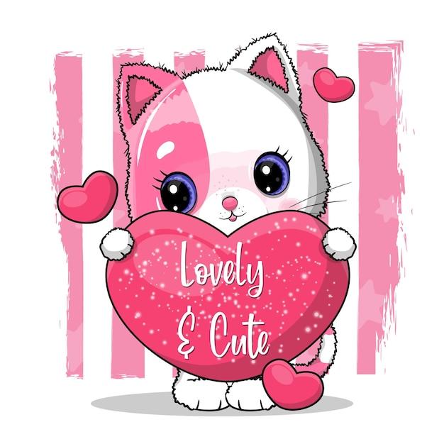 Lindo gato con grandes corazones para san valentín. ilustración de tarjeta de invitación