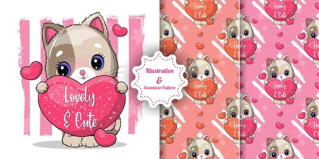 Lindo gato con grandes corazones para san valentín. tarjeta de invitación y conjunto de patrones