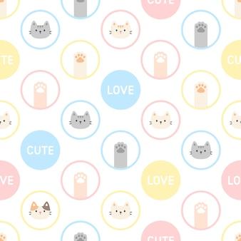 Lindo gato y huella de pata sin fisuras patrón repetitivo, fondo de pantalla, lindo fondo transparente