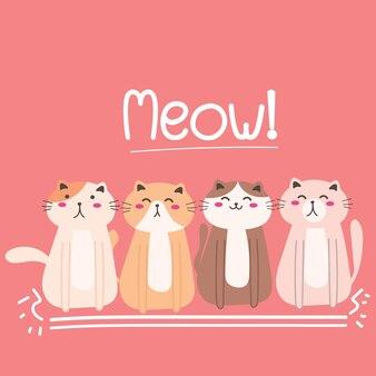 Lindo gato ilustración de fondo.