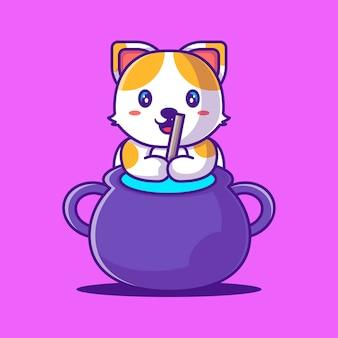 Lindo gato con ilustración de dibujos animados de caldero. concepto de estilo de dibujos animados planos de halloween