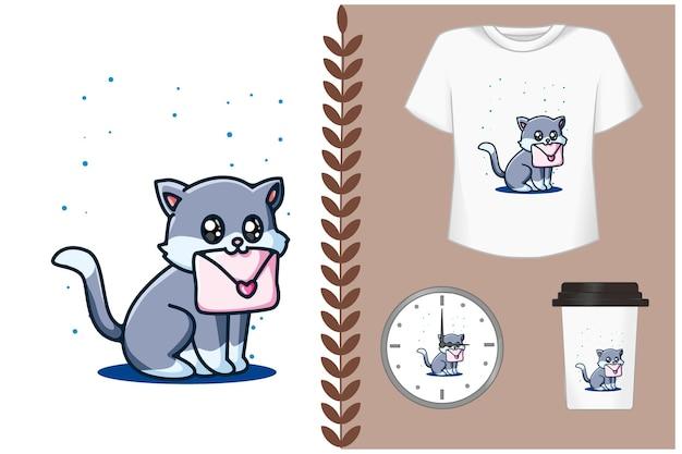 Lindo gato con ilustración de dibujos animados de carta de amor