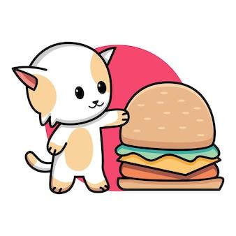 Lindo gato con ilustración de dibujos animados de hamburguesa