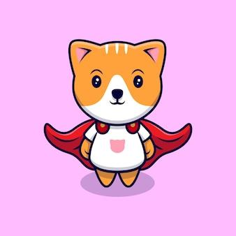 Lindo gato con una ilustración de icono de dibujos animados de capa. estilo de dibujos animados plana