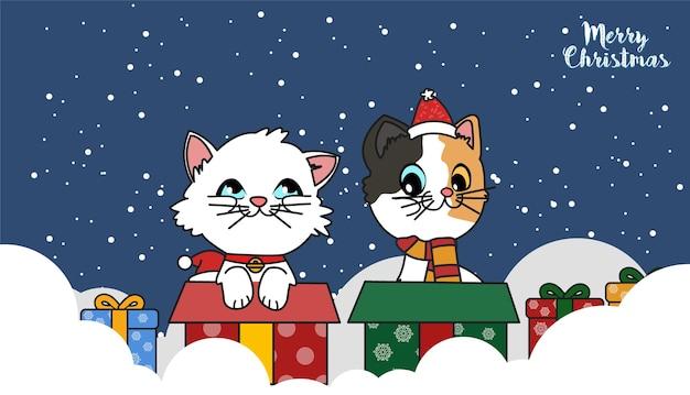 Lindo gato con una ilustración de regalo de navidad.