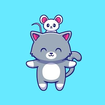 Lindo gato con ilustración de vector de dibujos animados lindo ratón.