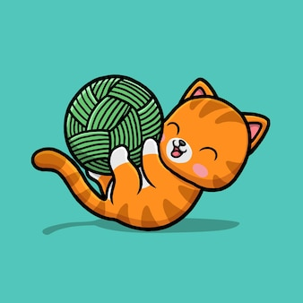 Lindo gato jugando dibujos animados de bolas de hilo.