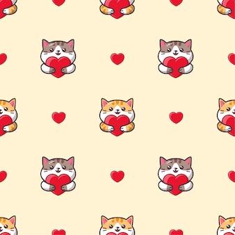 Lindo gato kawaii abrazando un patrón sin costuras de corazón rojo