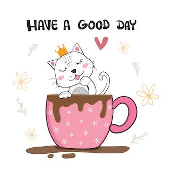 Lindo gato lamiendo la mano en una taza de café, dibujado a mano